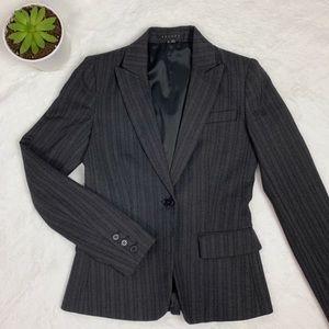 THEORY Women's Career Black Pinstripe Blazer 0